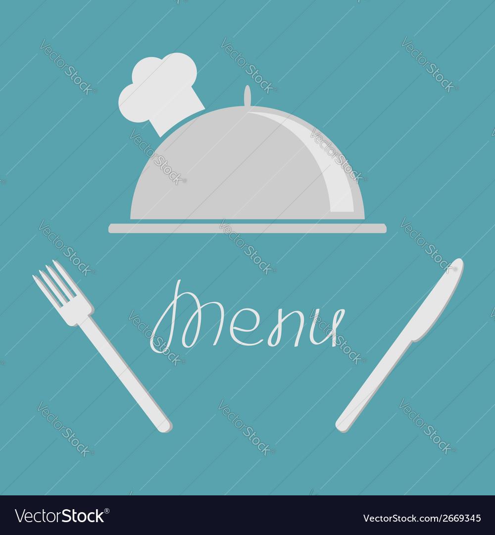 Silver platter cloche fork knife Menu cover flat