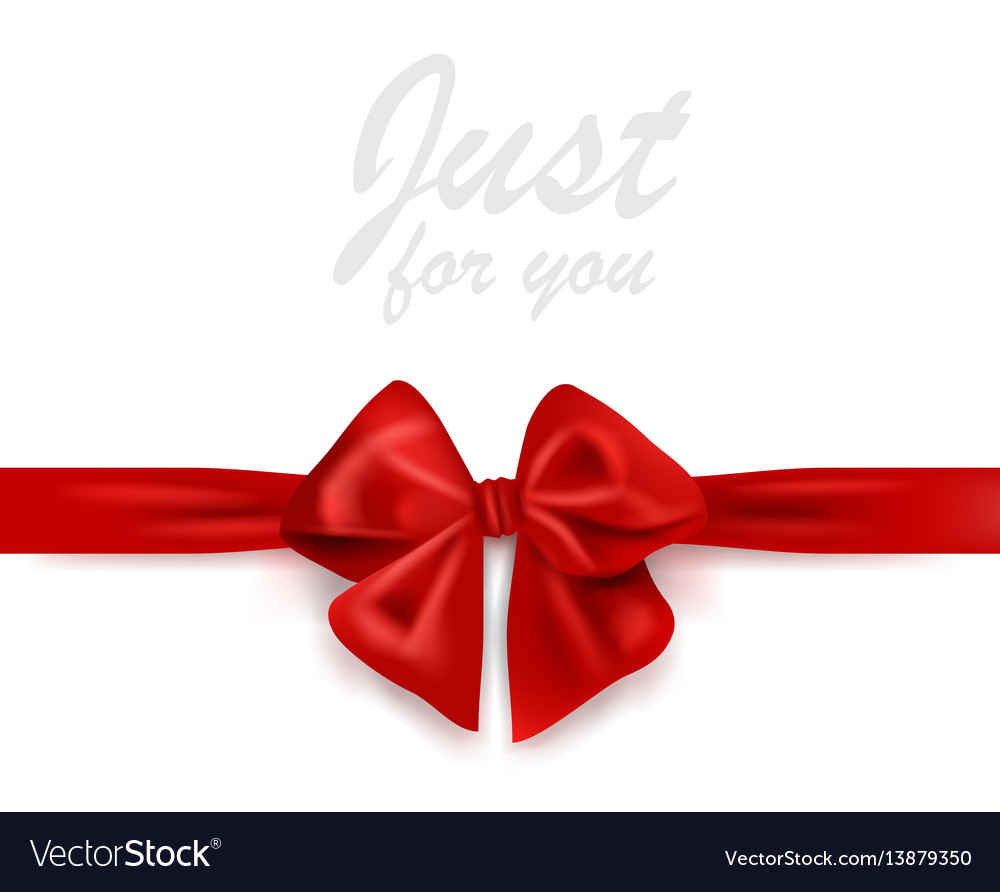 Blank greeting card with red gift ribbon and bow
