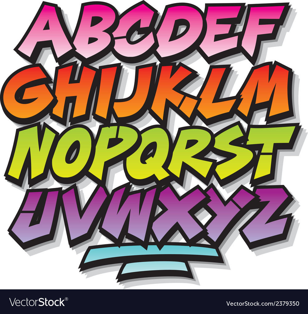 Bright cartoon comic graffiti doodle font alphabet vector image