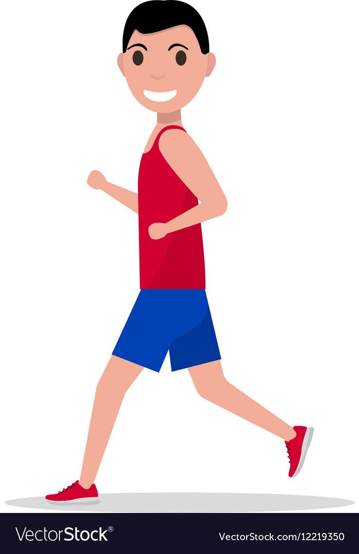 Cartoon man running jogging