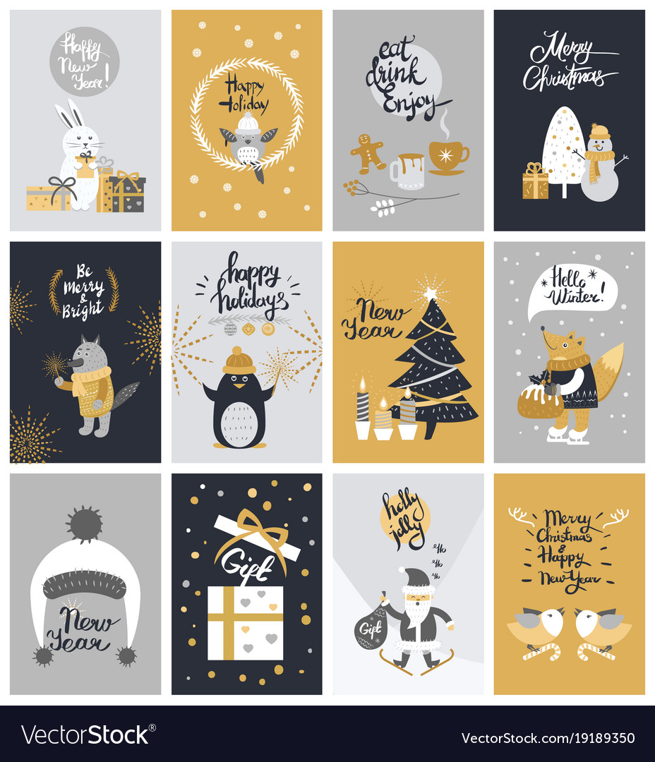 Collection of twelve colourful christmas pictures