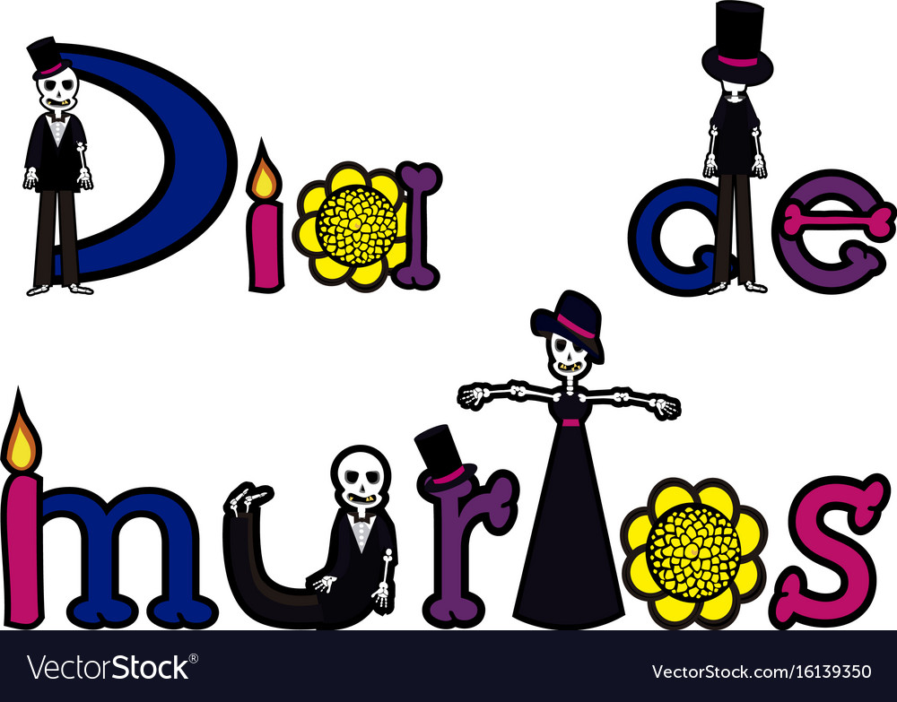 Day of the dead letters 2 vector image