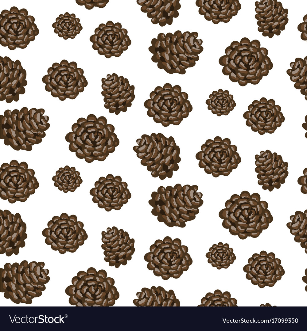 Fir cones seamless white background pattern