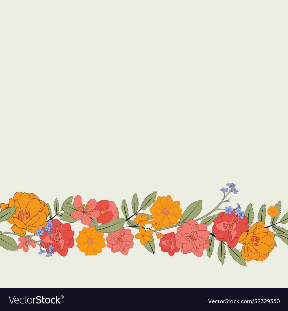 Hand drawn flower natural frame background