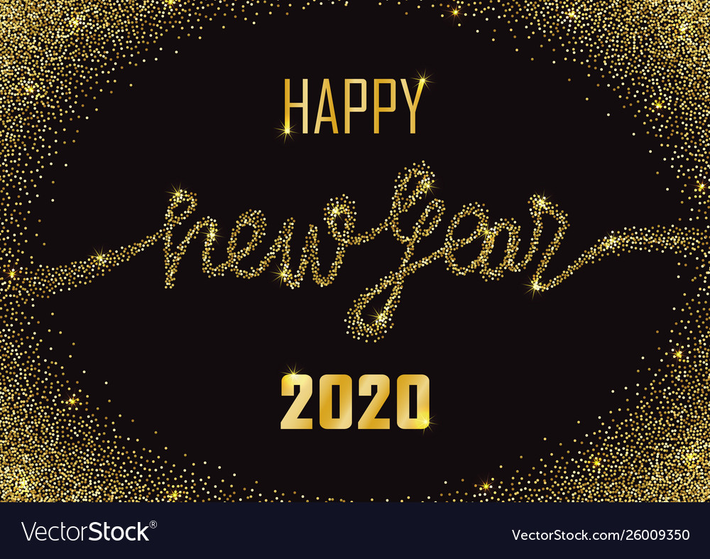 Happy new year 2020 glitter and marble greeting