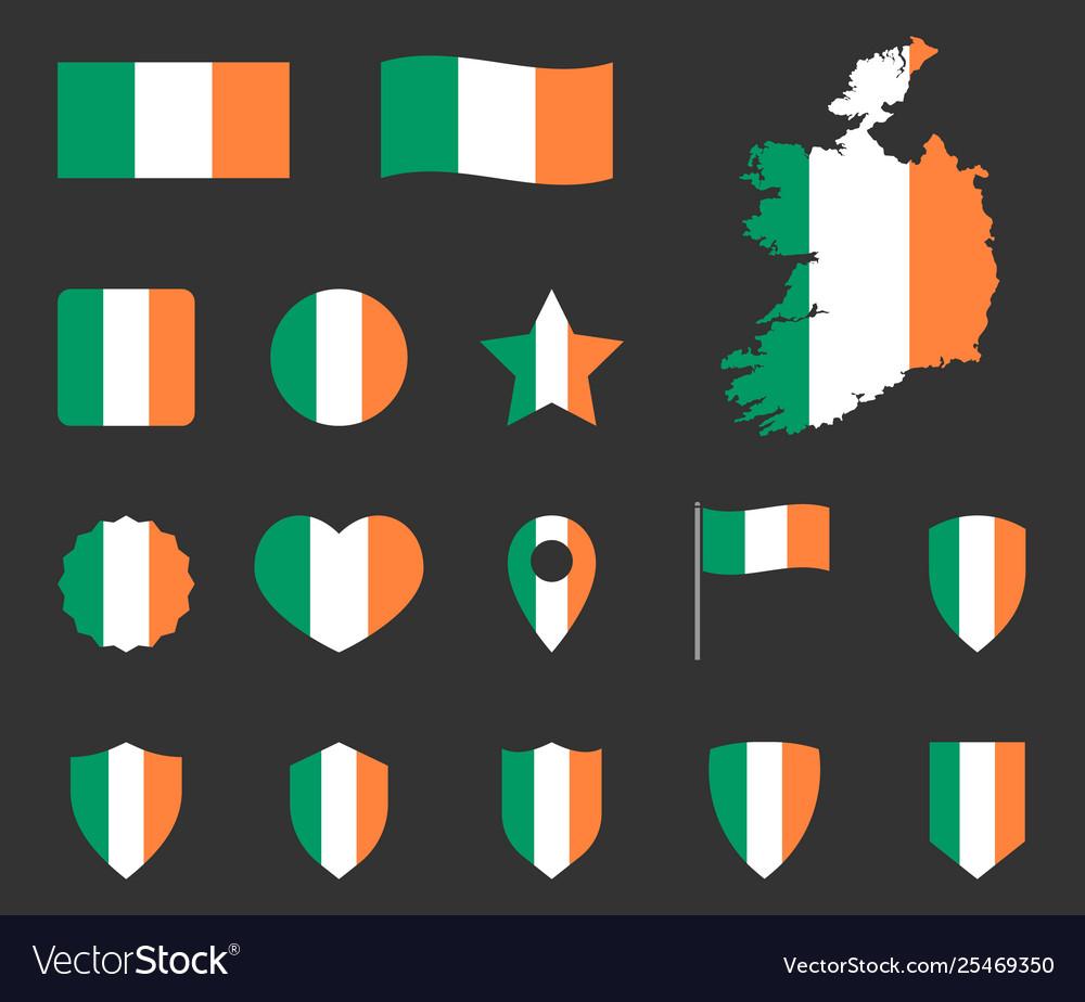 Ireland flag icons set symbols flag of