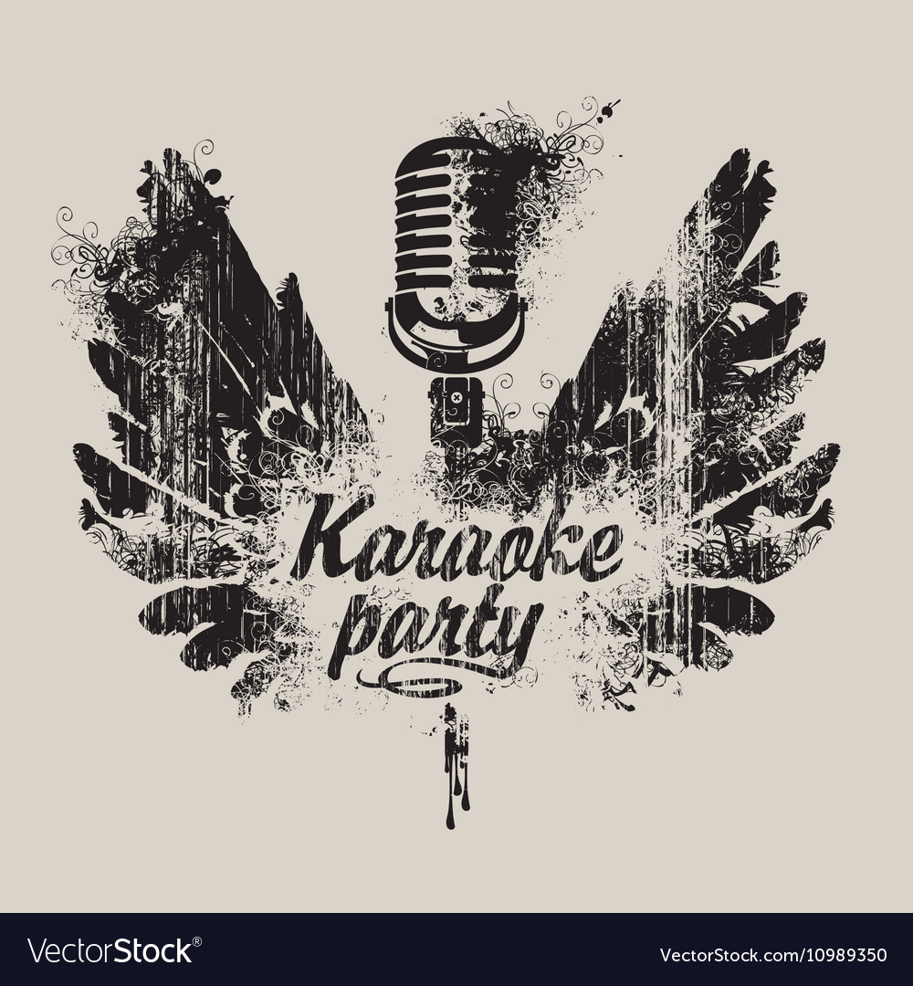 Karaoke party with a microphone and wings