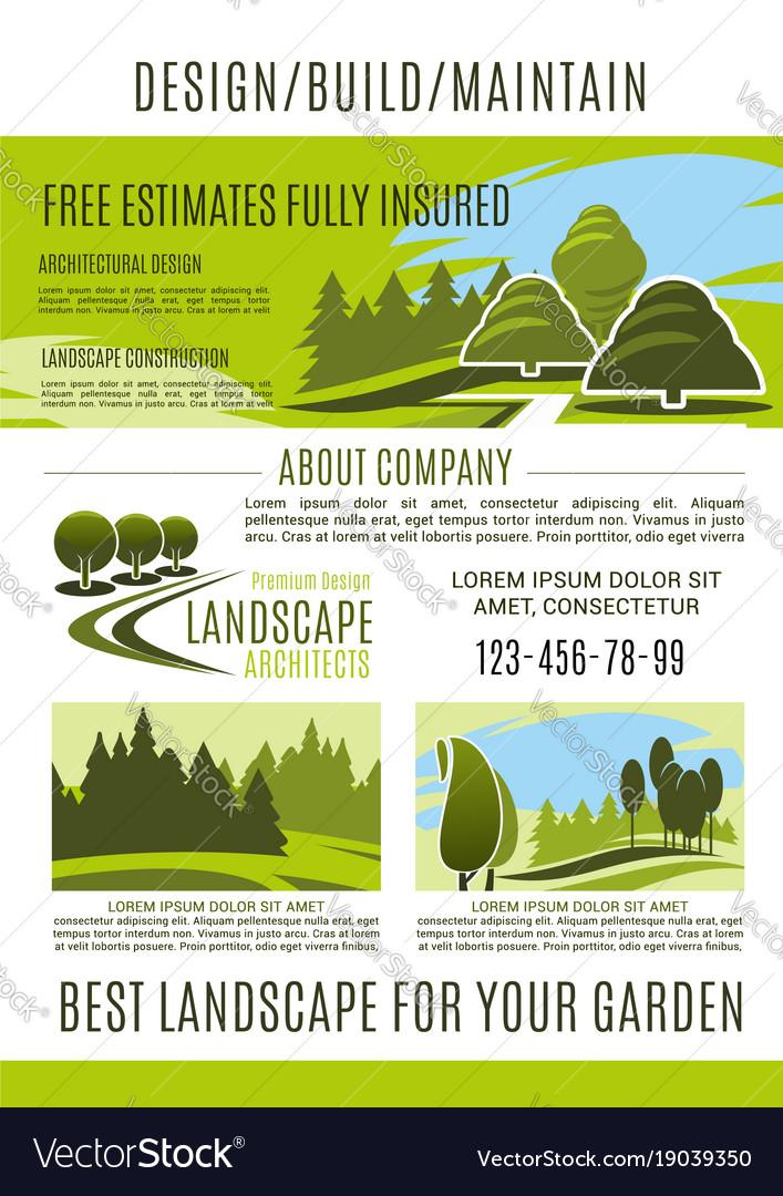 Landscape design and gardening banner template Vector Image