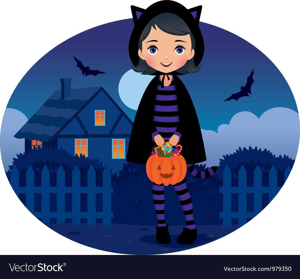 Little Girl in Cat Costume Halloween
