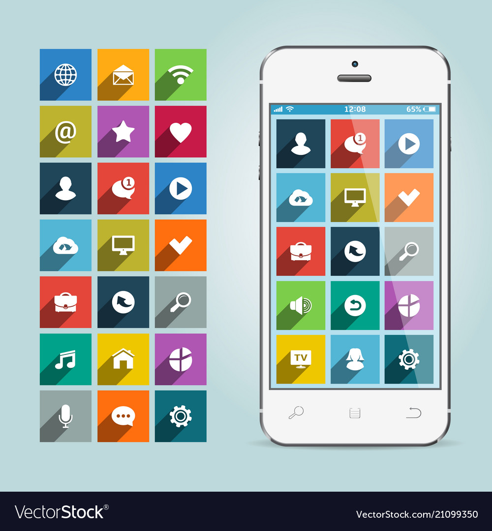Modern smartphone with apps icons on soft vector