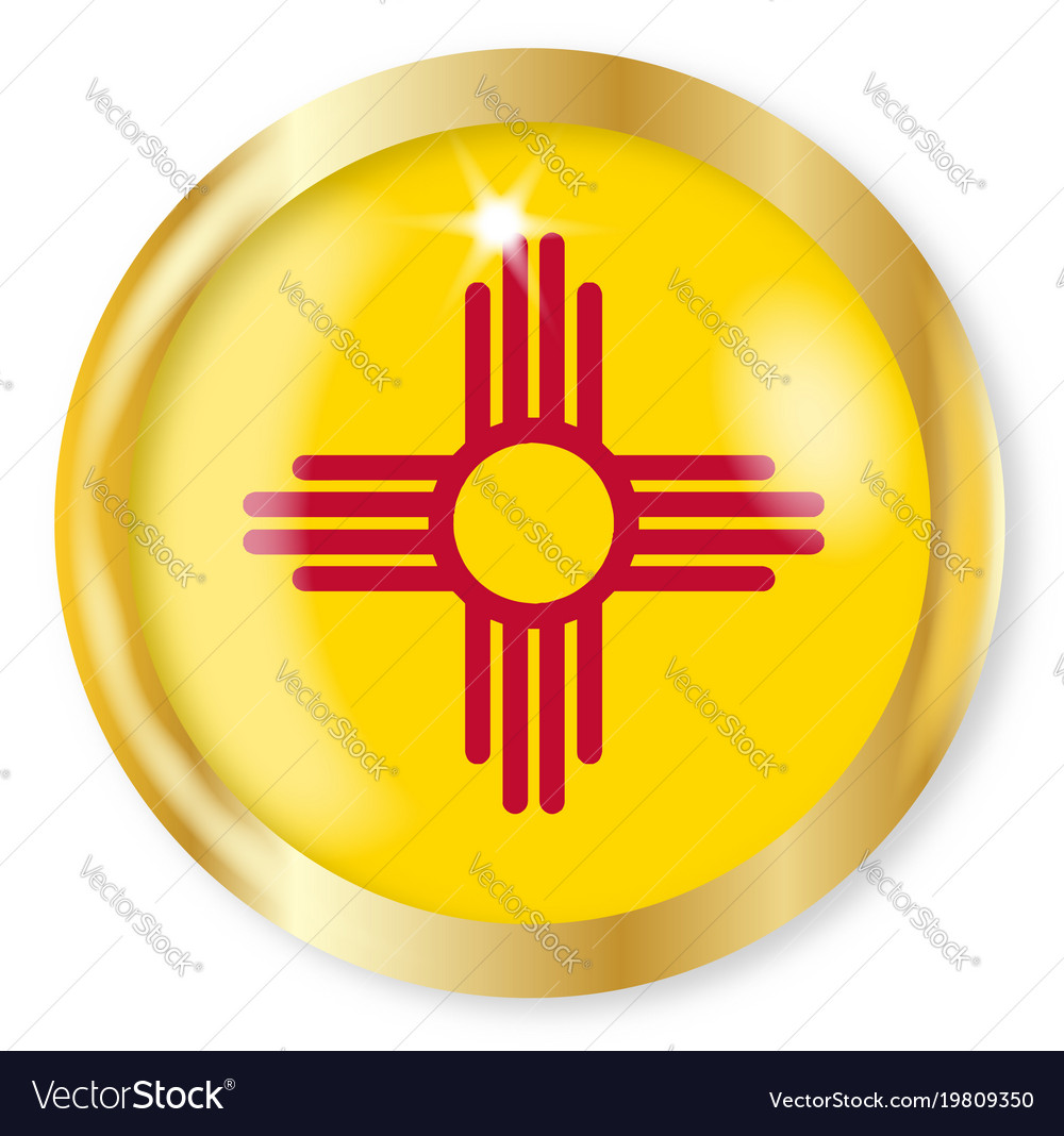New Mexico Flag Button Royalty Free Vector Image