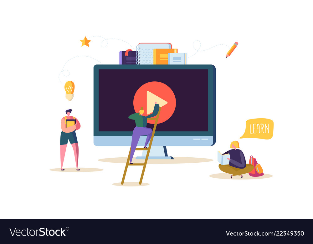 Online education concept e-learning flat people