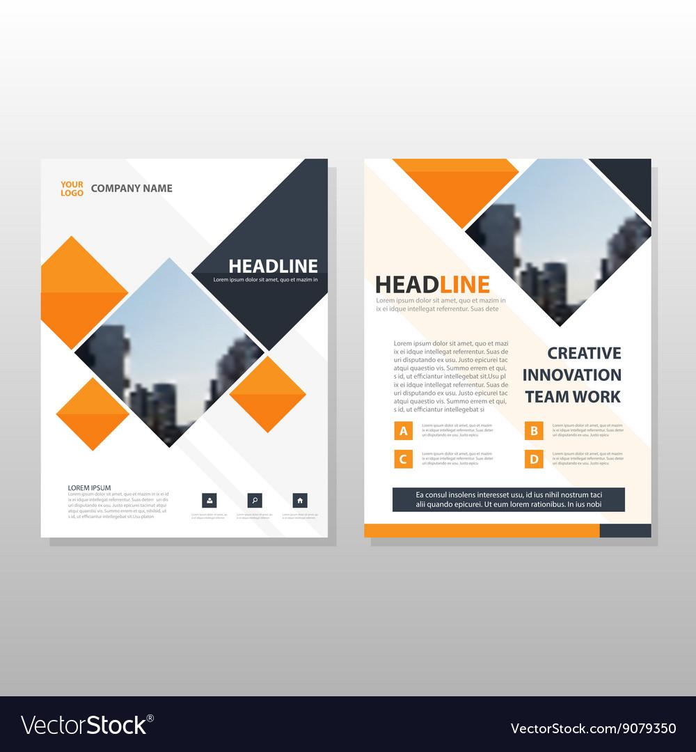 Orange Square Brochure Flyer Leaflet Template Vector Image