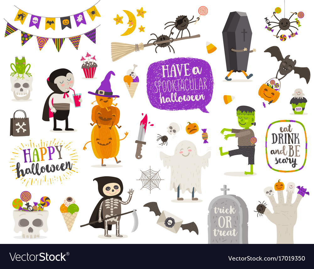 Set of halloween cartoon characters and objects