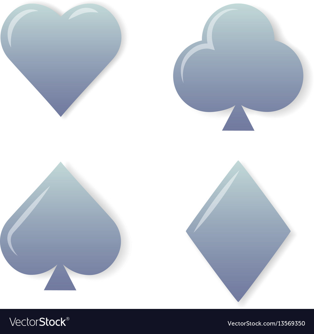 Silver playing cards symbols set on white