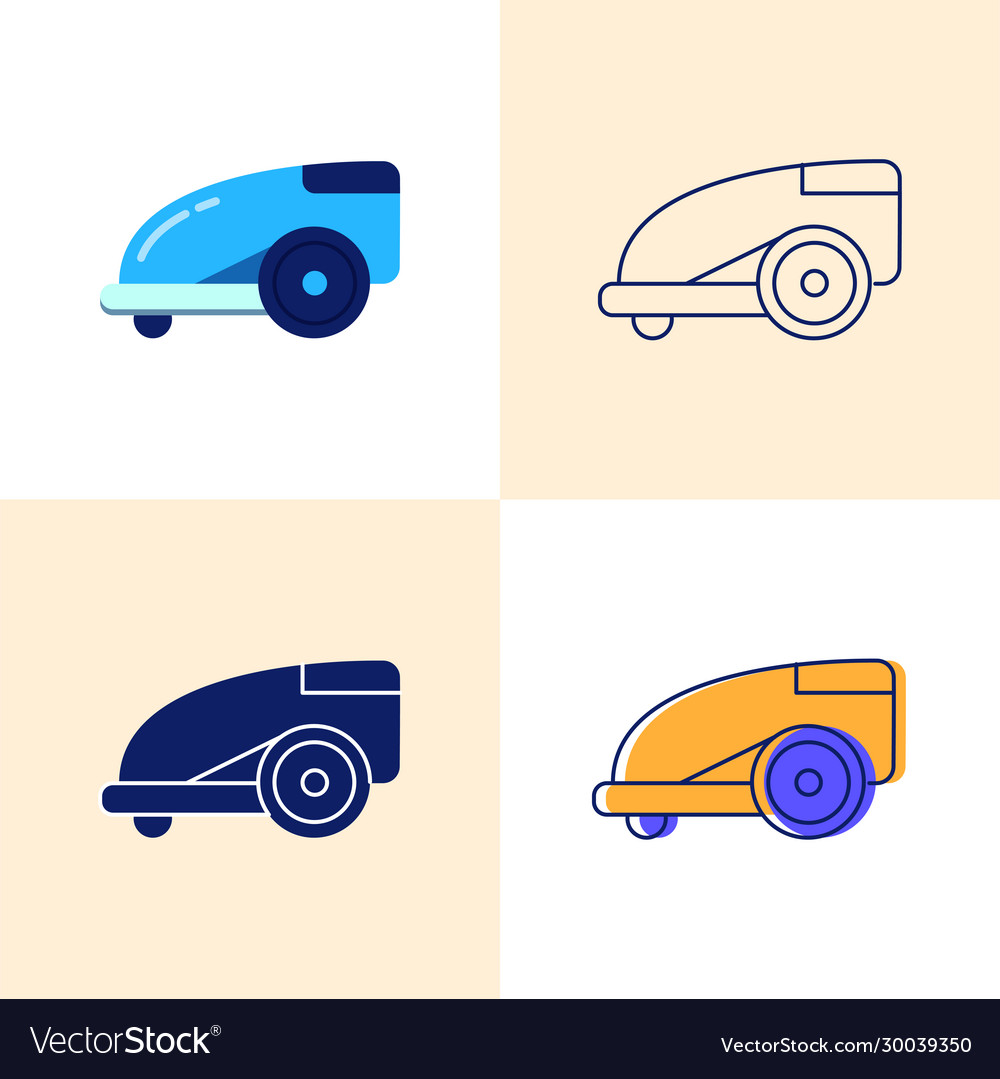 Smart lawn mower icon set in flat and line style