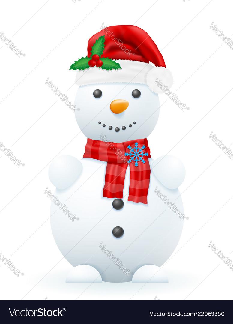 Snowman in a red santa claus hat