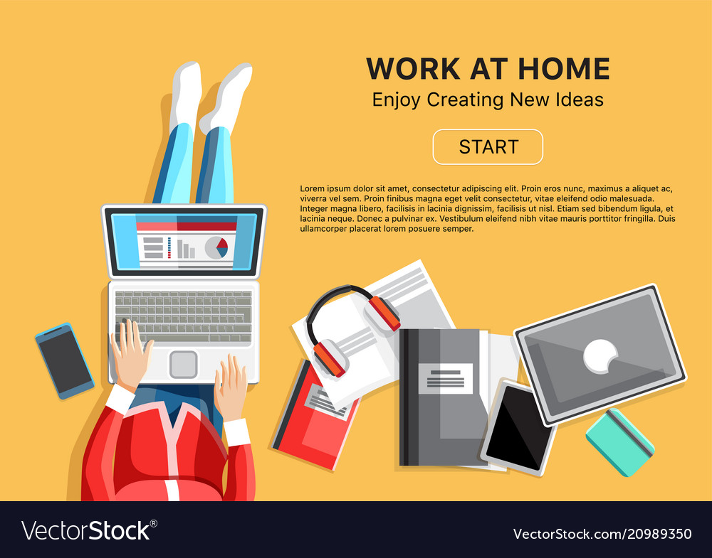 Work At Home Concept With Woman Royalty Free Vector Image