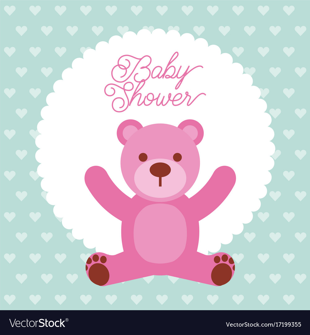Baby shower pink teddy bear card invitation vector image