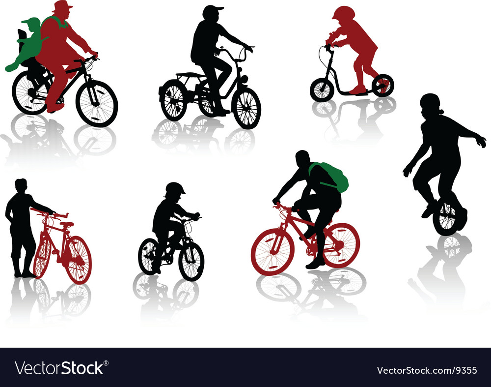Bicycle rdiers silhouettes vector image