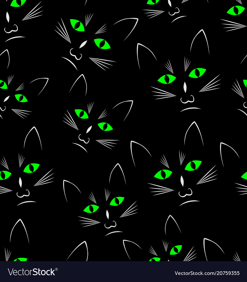 Black background with black cats heads seamless