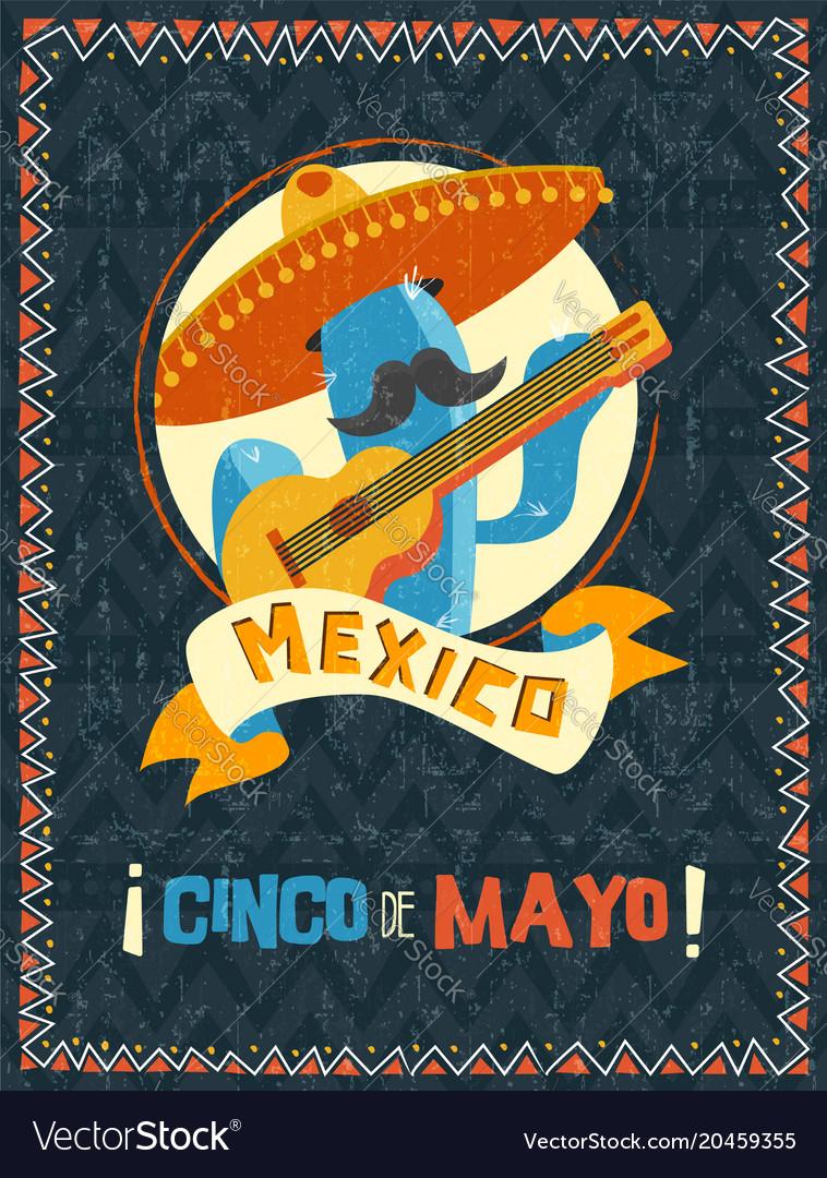 Cinco de mayo mexican mariachi cactus poster vector image