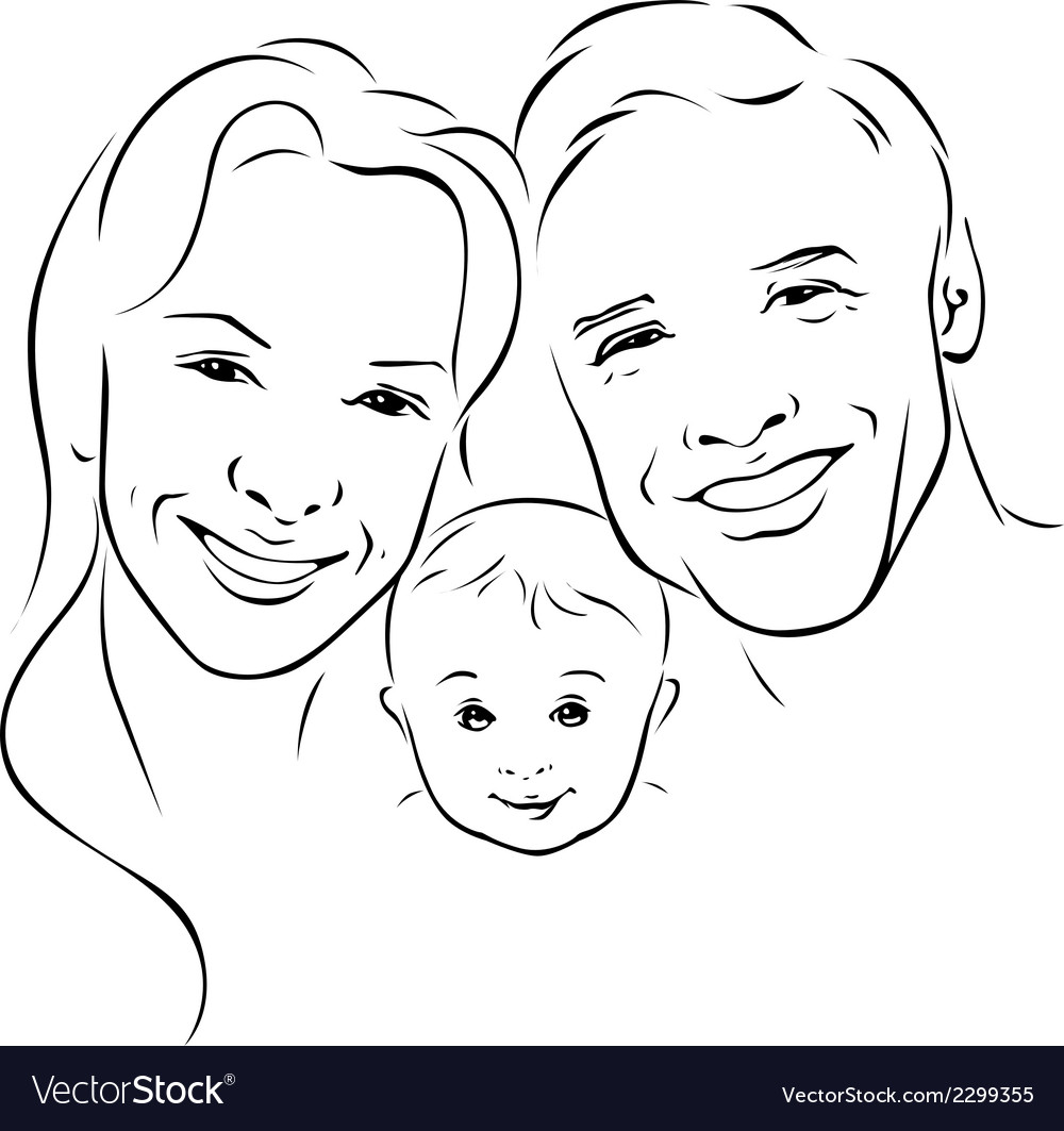 Happy family - black outline