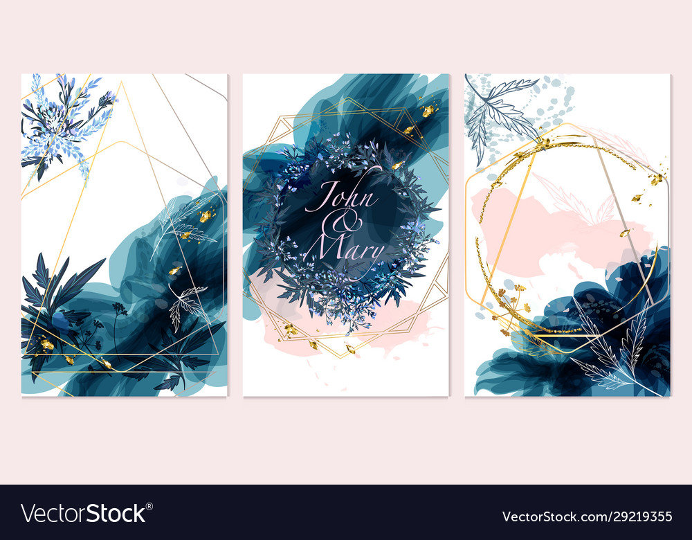 Set card with field flowers leaves wedding