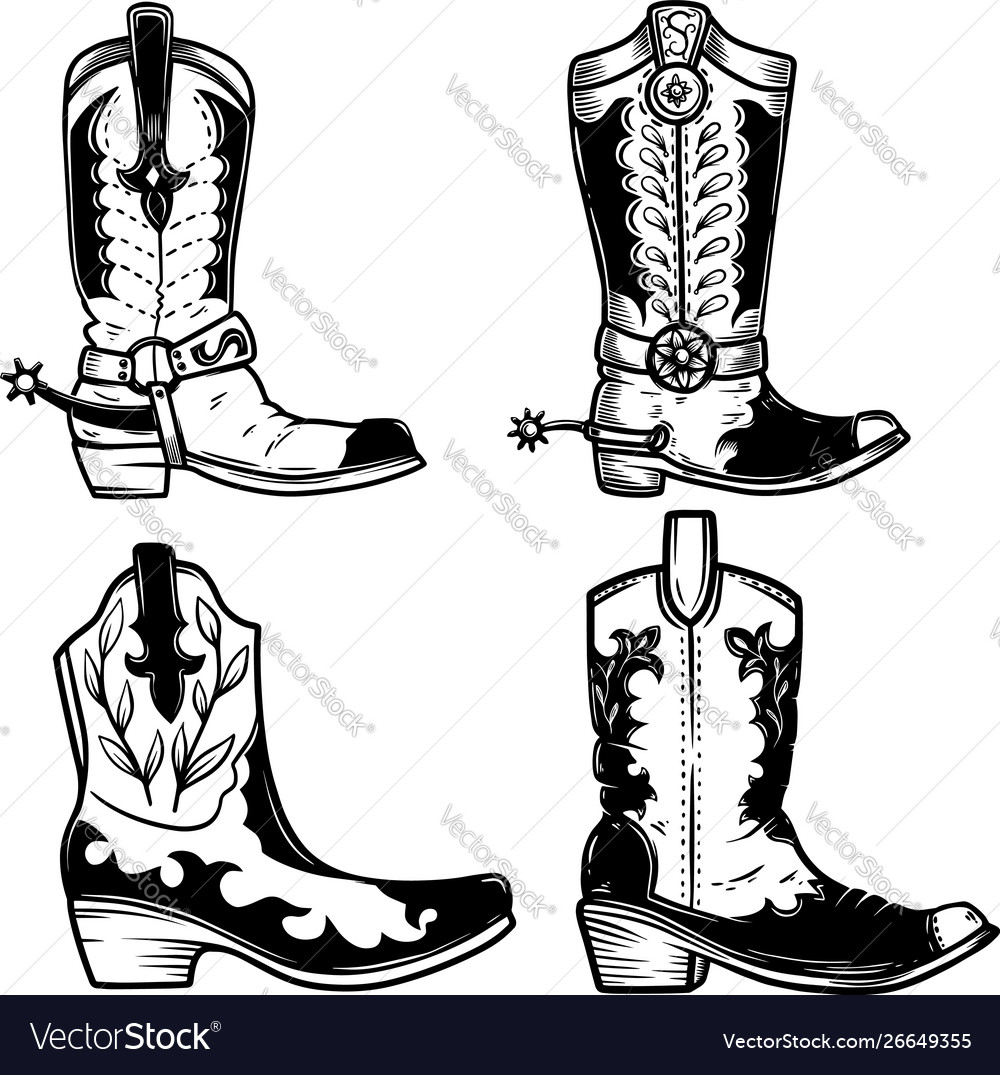 Set cowboy boots in tattoo style design