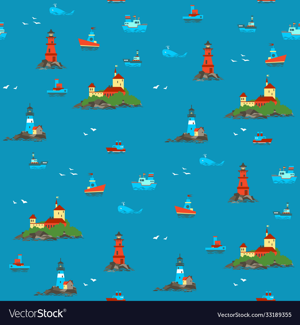 Ships and lighthouses in vastness sea