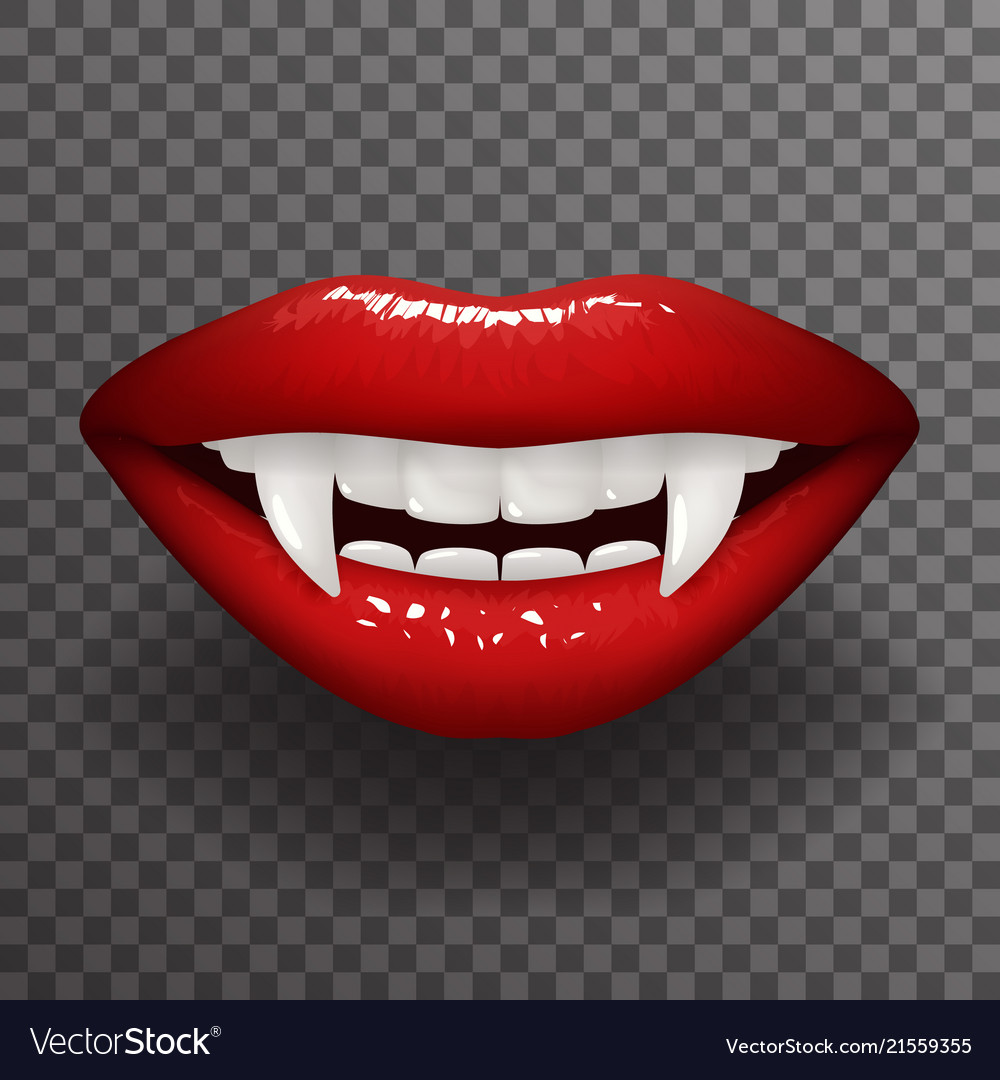 Vampire Tooth Stylish Woman Lips Slightly Open