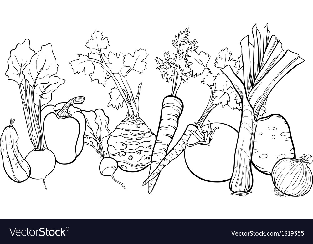 Vegetables group for coloring book Royalty Free Vector Image