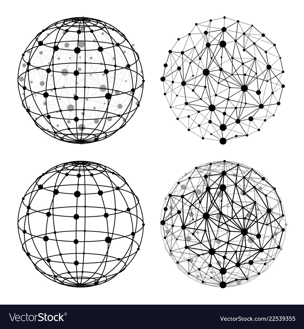 Wireframe sphere with dots set