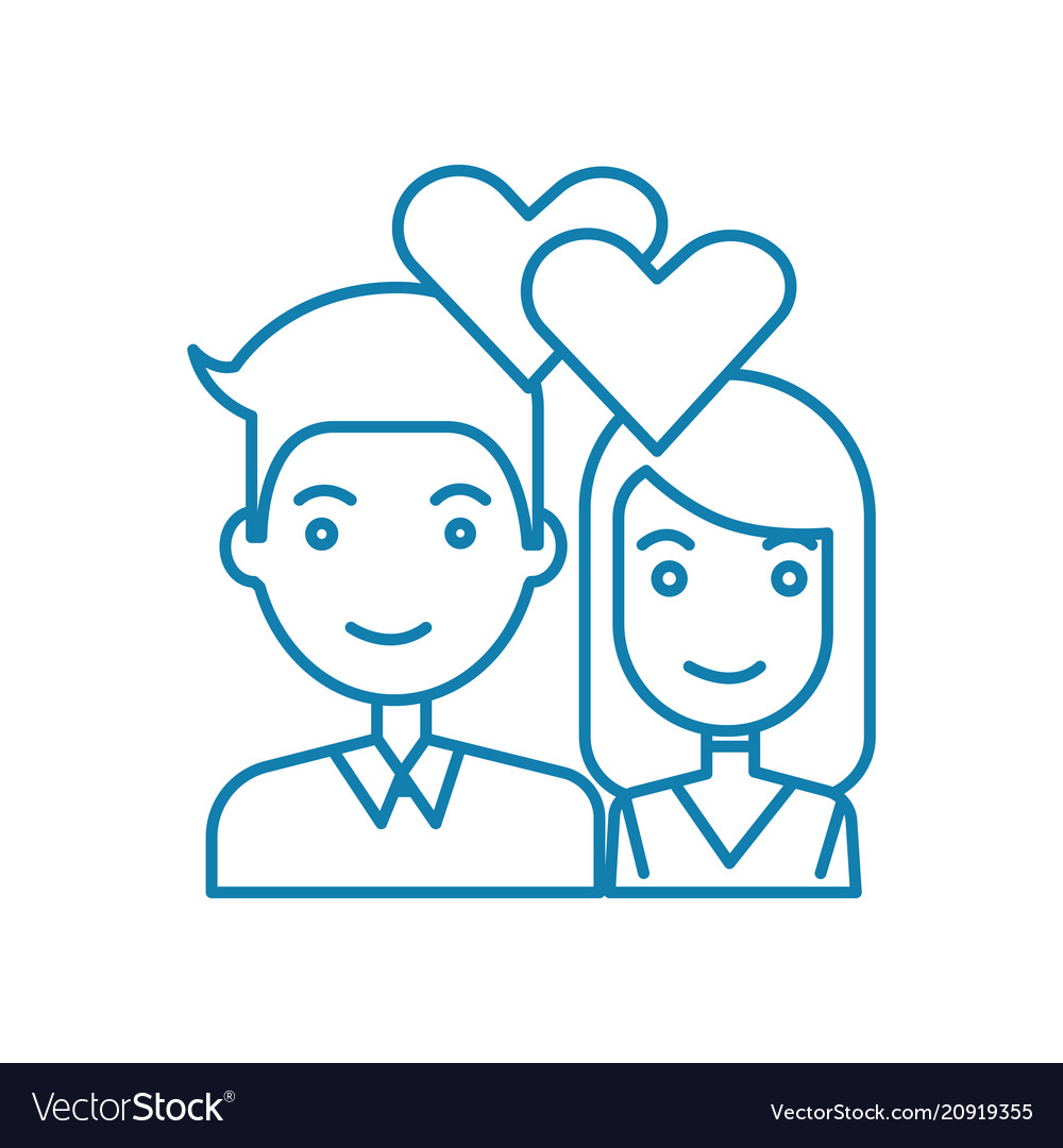 Young couple linear icon concept young couple