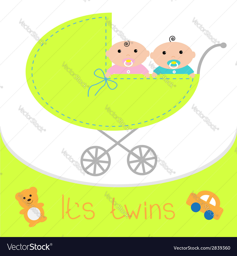 Baby carriage Its twins boy and girl Shower card