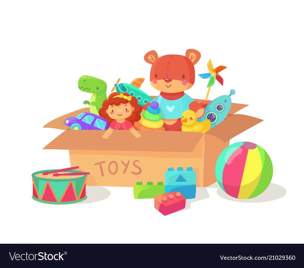 Cartoon kids toys in cardboard toy box children