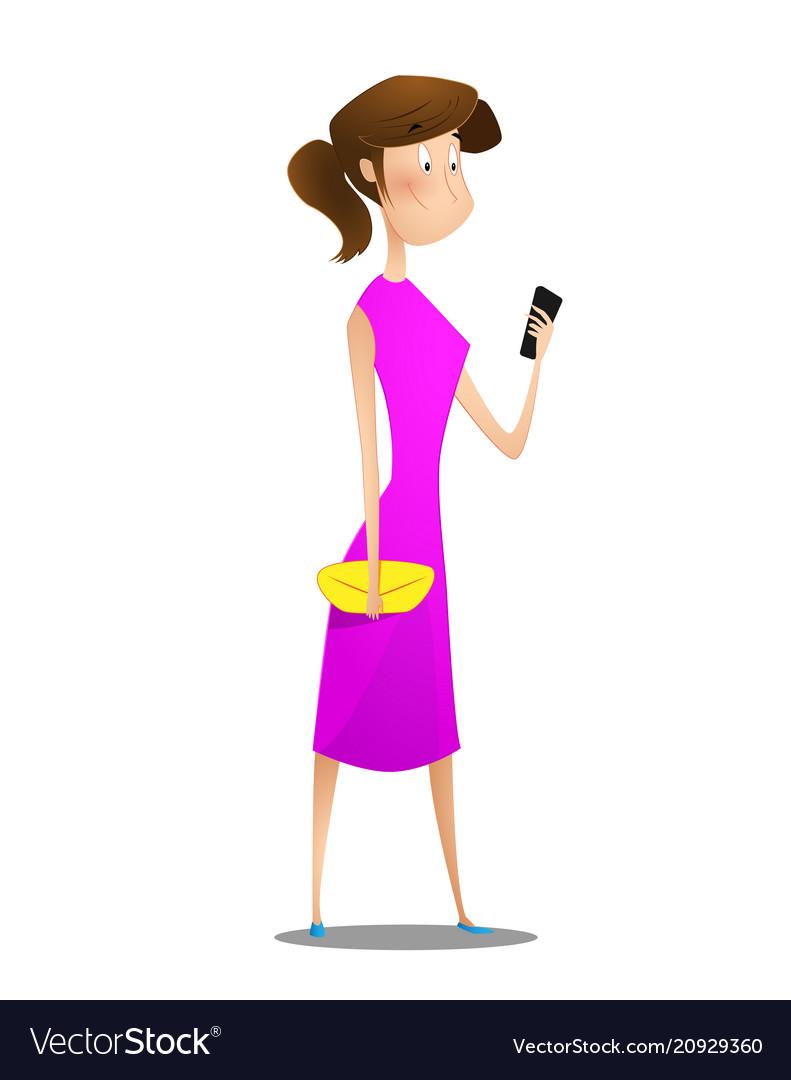 Cartoon young girl using smart phone