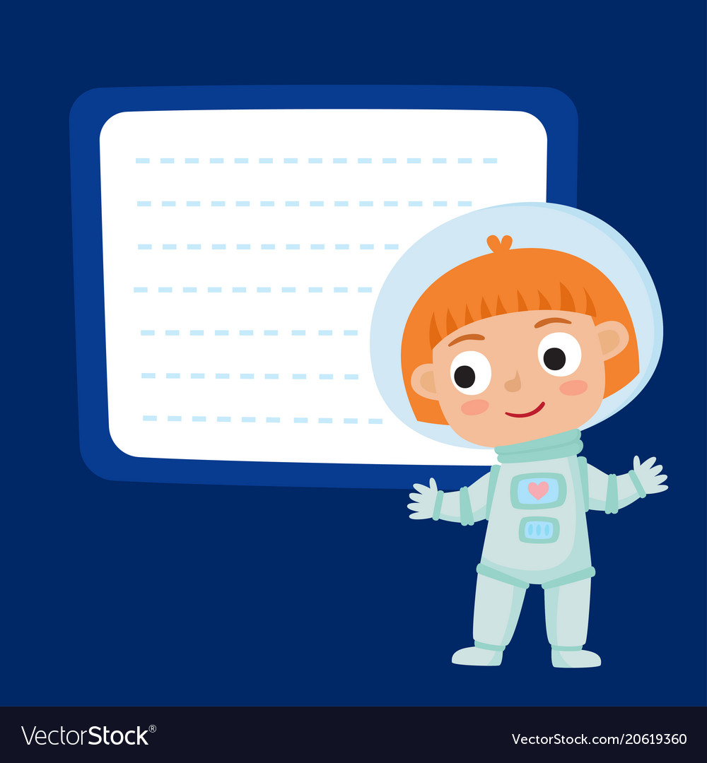 Cute little red-haired girl astronaut with a blank