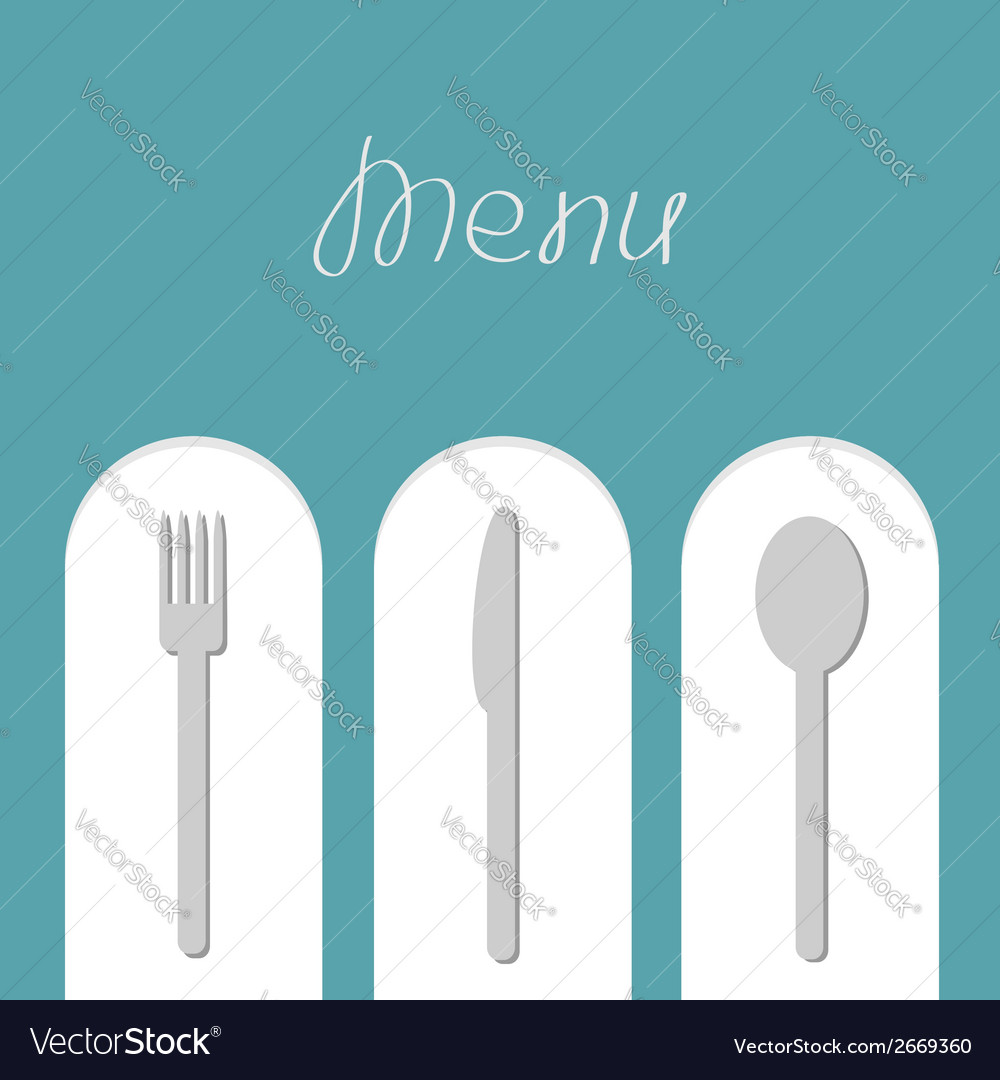 Fork spoon and knife on white arch Menu card Flat vector image
