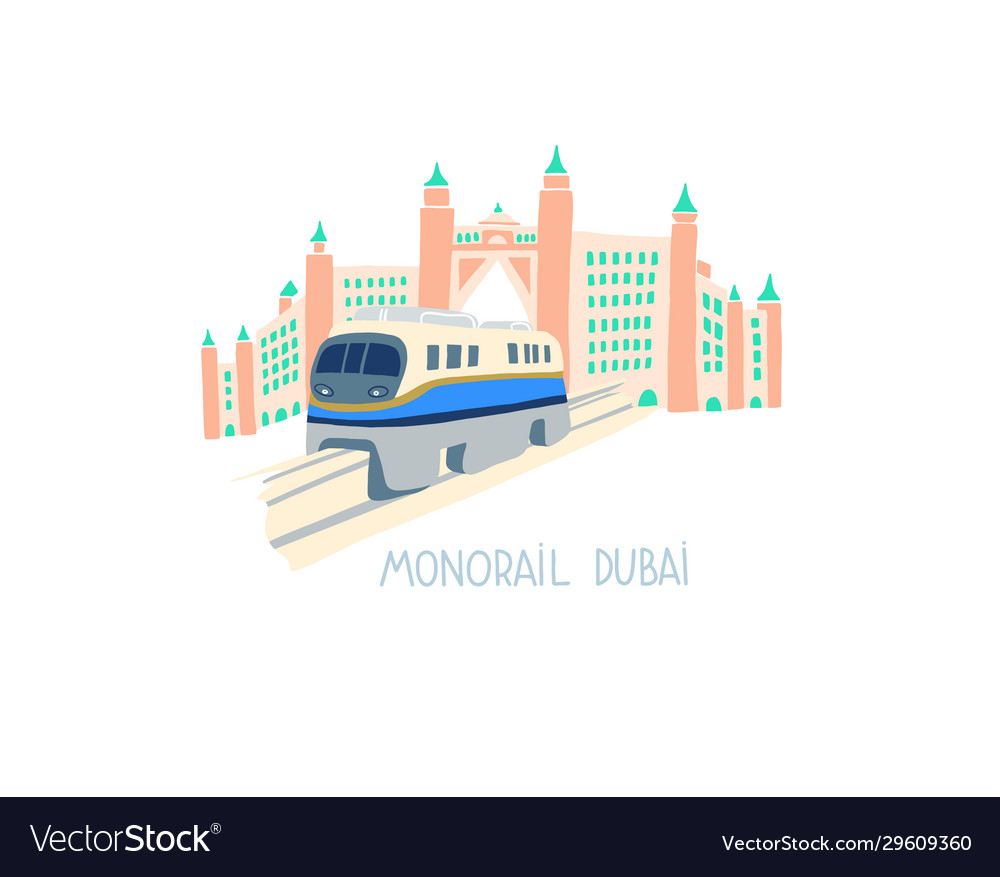 Hand drawing flat style monorail in dubai
