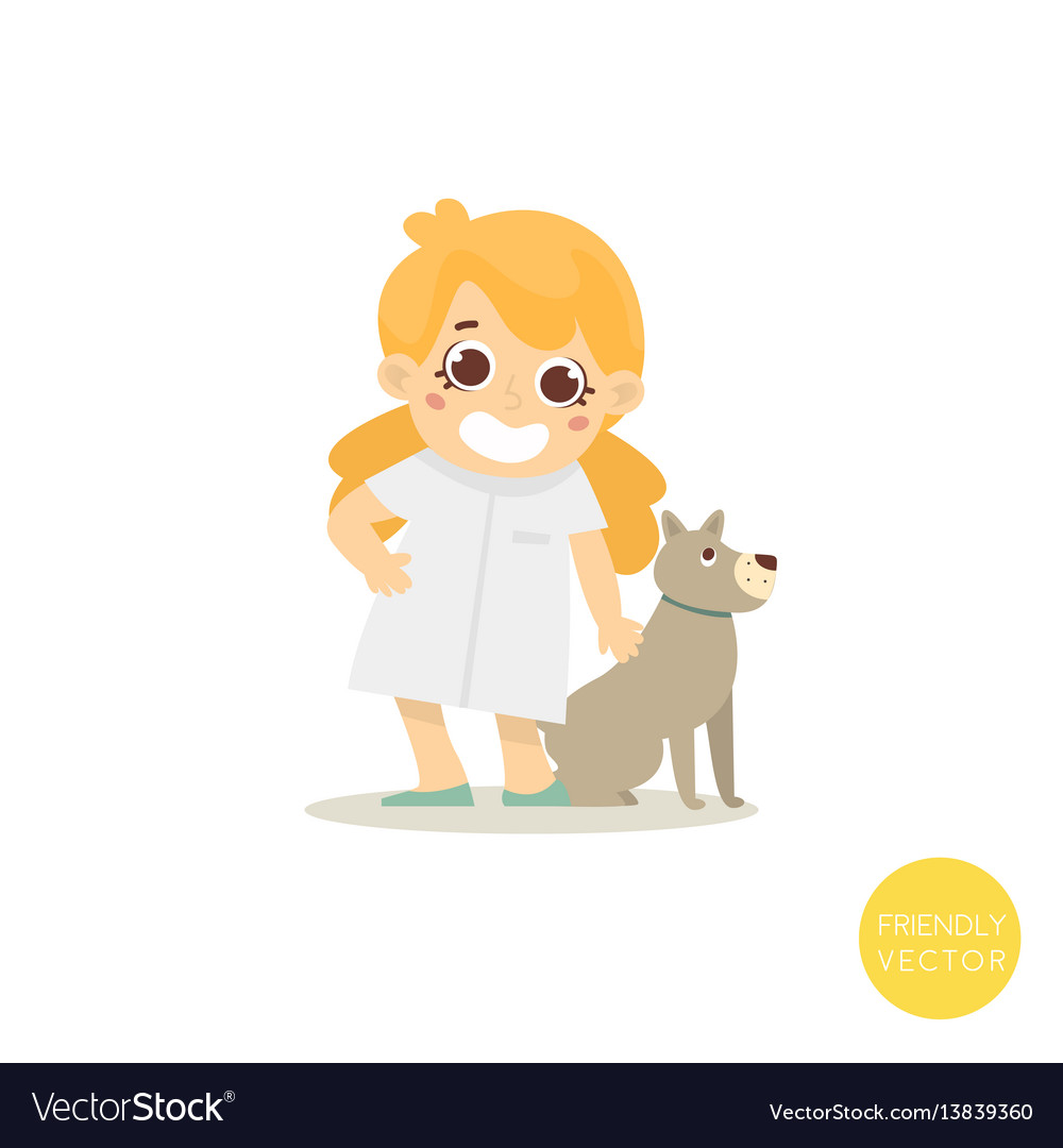Happy veterinar woman with dog isolated on white vector image
