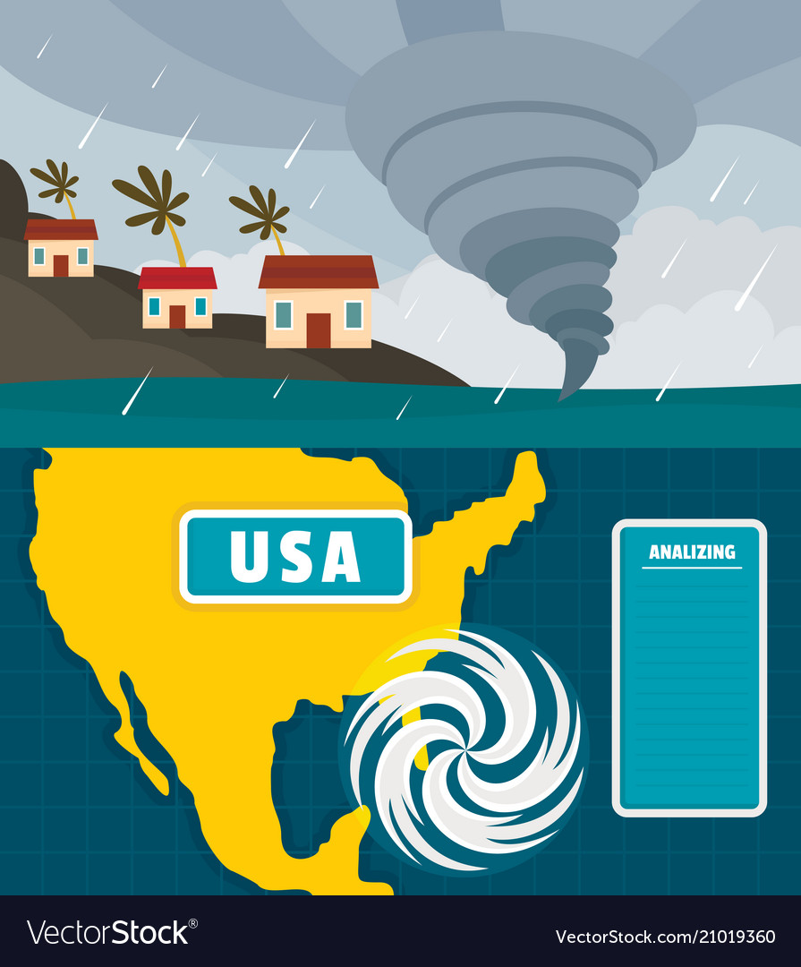 Hurricane storm banner concept set flat style vector image