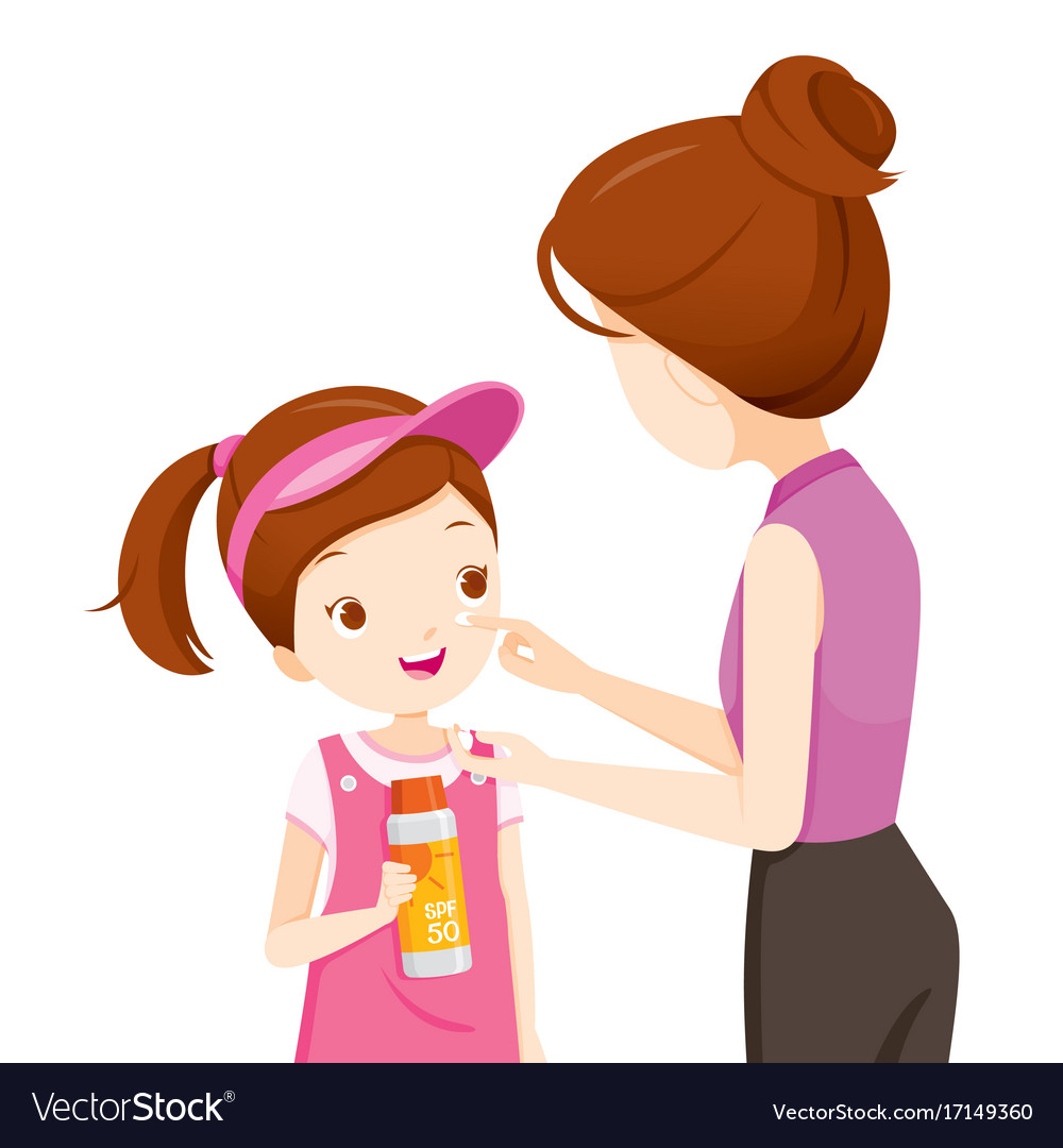 20d1a19e1b1 Mother wearing sunscreen on daughter face Vector Image