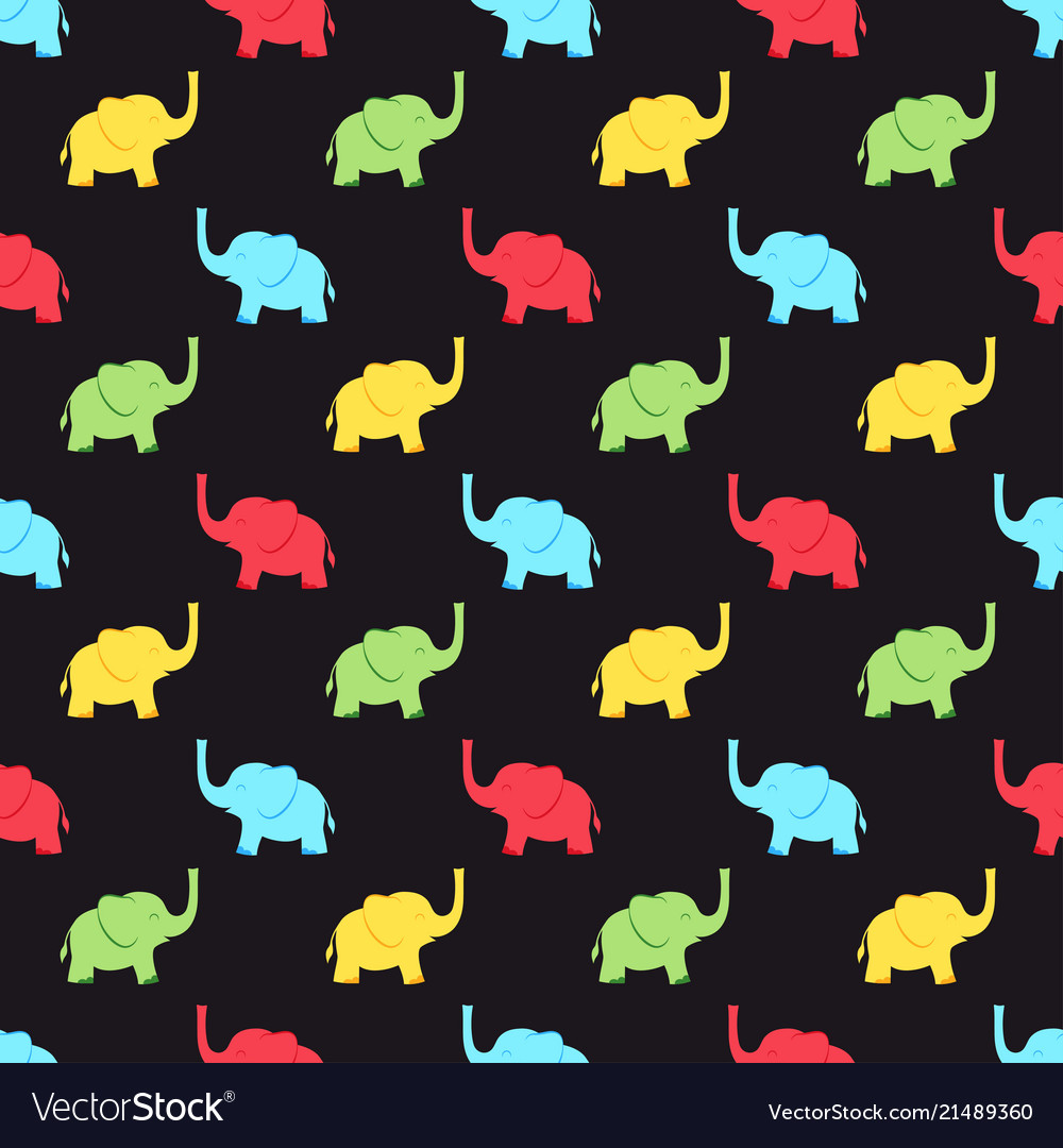 Pattern with multicolored elephants