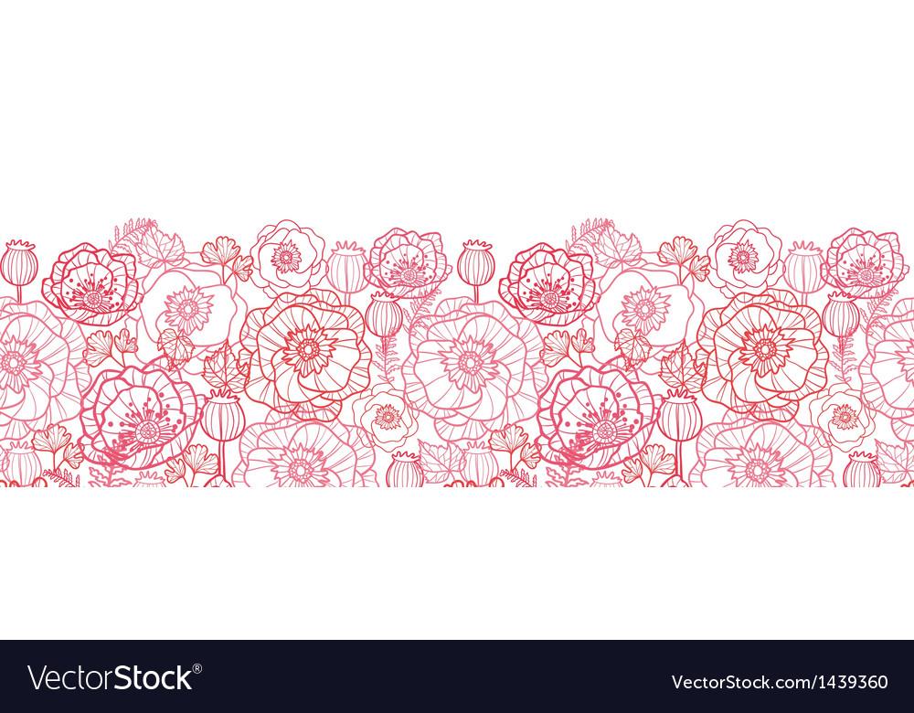 Poppy flowers line art horizontal seamless pattern vector image