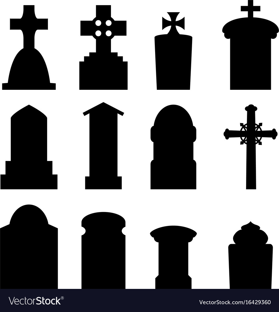 set of headstone and tombstone in silhouette vector image rh vectorstock com tombstone vector images tombstone vector free download