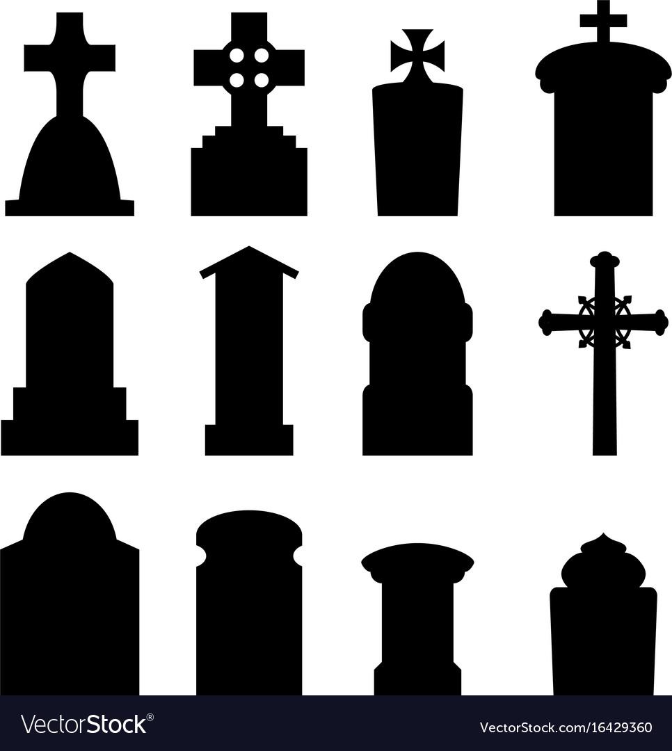 set of headstone and tombstone in silhouette vector image rh vectorstock com tombstone shape vector halloween tombstone vector