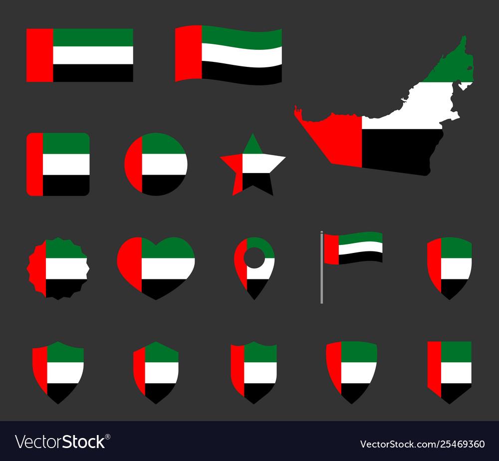 United arab emirates flag icons set national flag