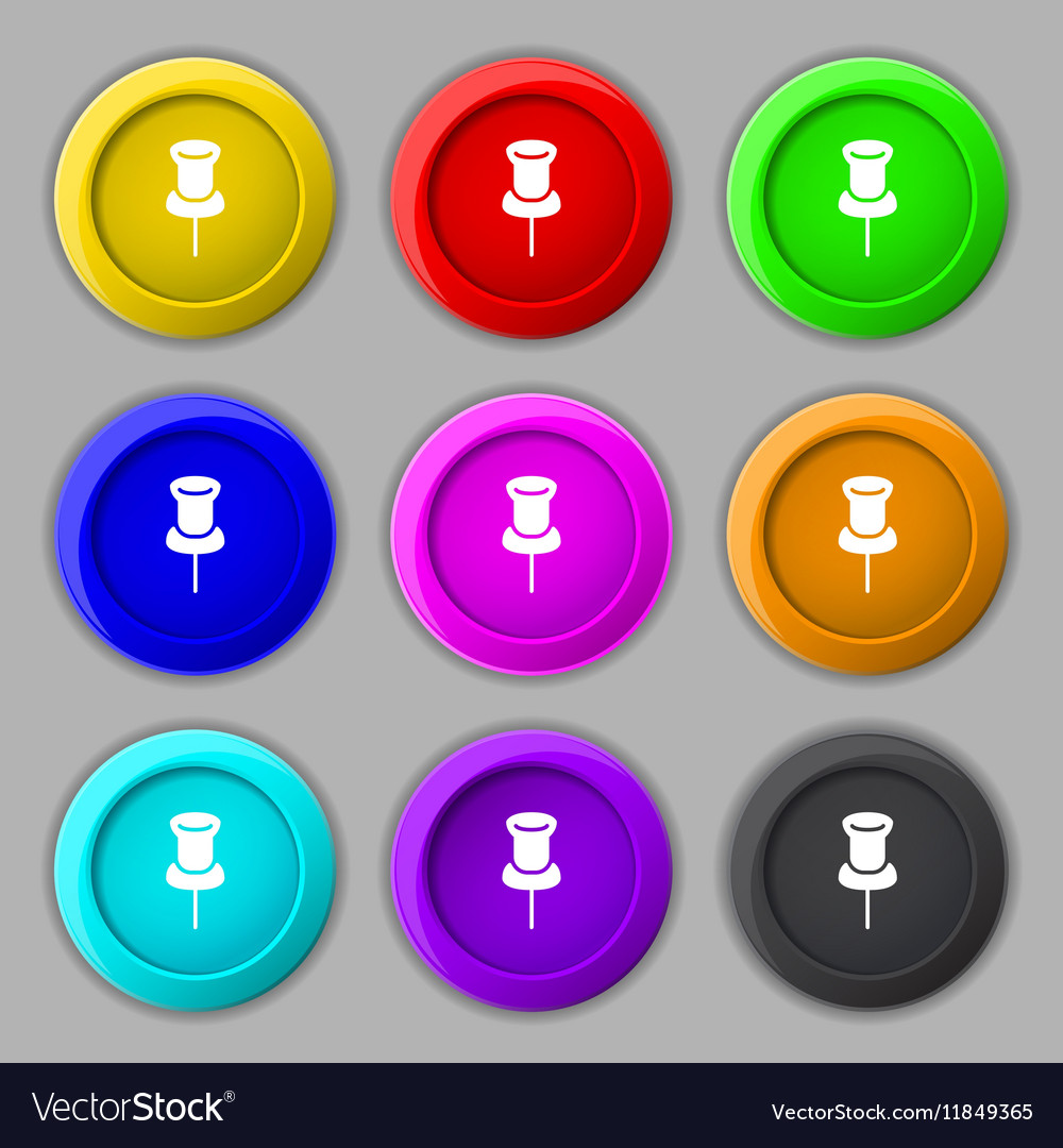 Clip Icon sign symbol on nine round colourful