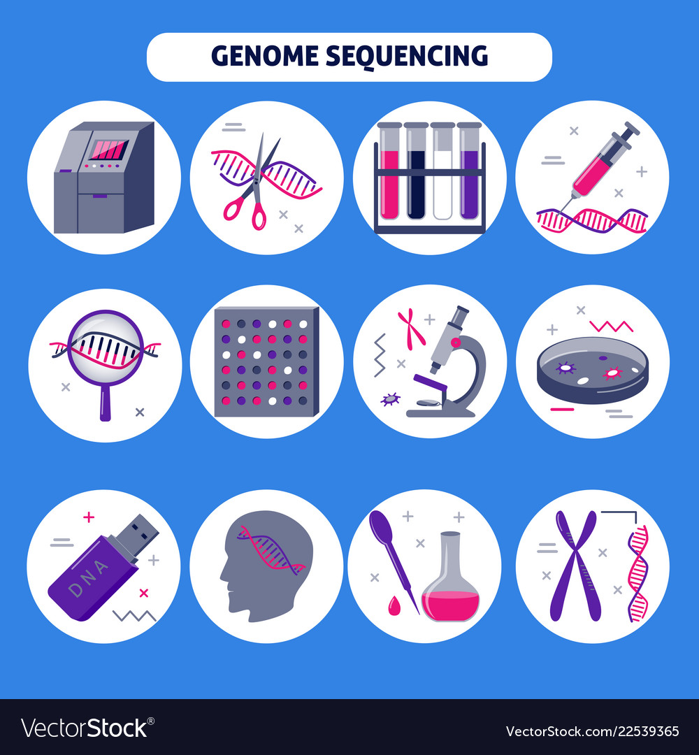 Genome research icon set in flat style